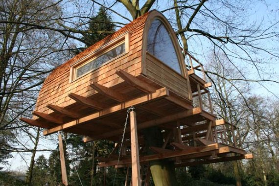 A modern wood treehouse covered in shingles.