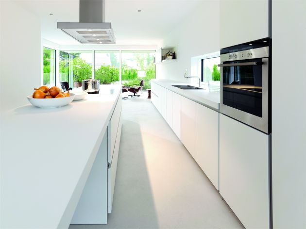 Modern luxury white kitchen interior design idea