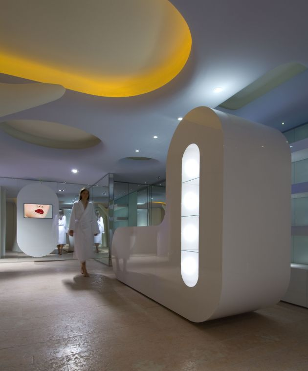 Italian architect Simone Micheli has designed a wellness centre at the Exedra Nice Hotel for Boscolo Hotels in Nice, France. #WellnessCentre #Architecture #InteriorDesign