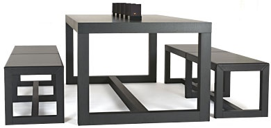 Rame Dining Table & Benches
