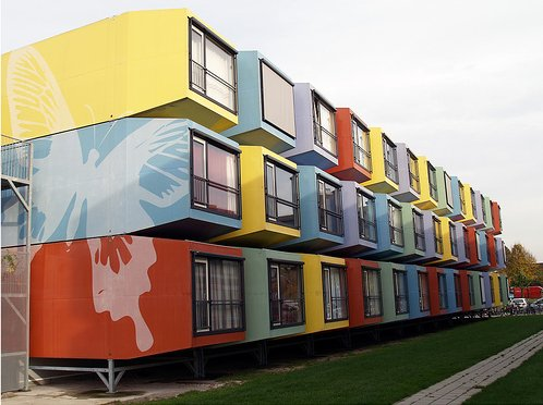 These student housing buildings are a colourful addition to a university in The Netherlands.
