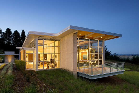 Architecture Design Minimalist Walnut Glass House In
