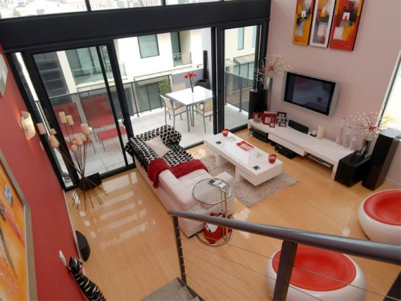 Modern Red & White Interior