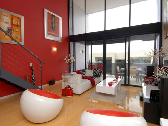 Contemporary Red & White Interior