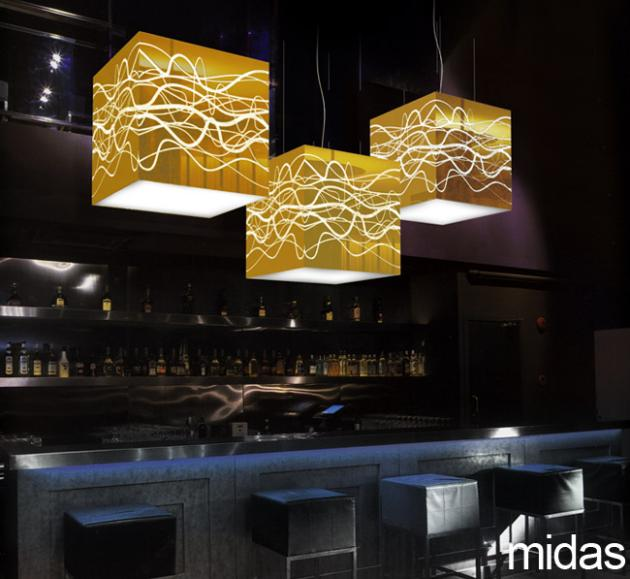 yellow goat lighting. brilliant yellow reflective gold mirror boxes with graphic pattern machined through the  to produce lines of opal light sides and diffusion on  on yellow goat lighting e