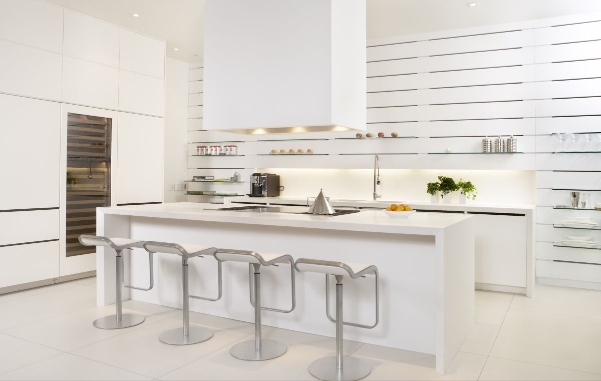 Modern luxury kitchen interior design in white