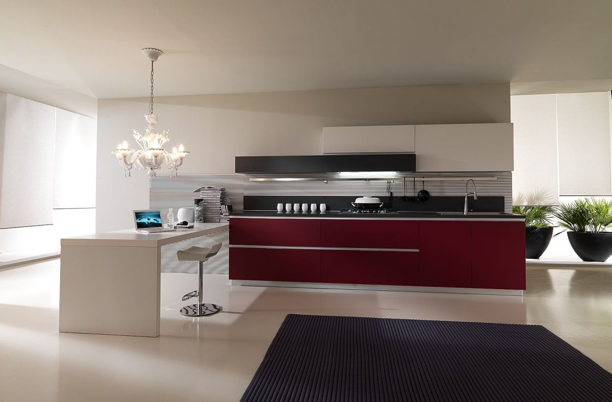 Modern luxury red kitchen interior design idea