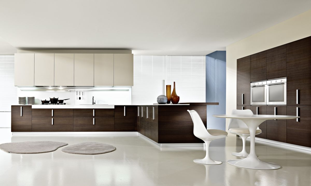 Contemporary luxury kitchen interior design with wooden furniture
