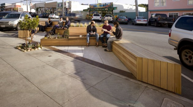 Matarozzi Pelsinger Design + Build designed this modern parklet for sitting, eating, and playing, replacing three parking spaces on a street in San Francisco, California.