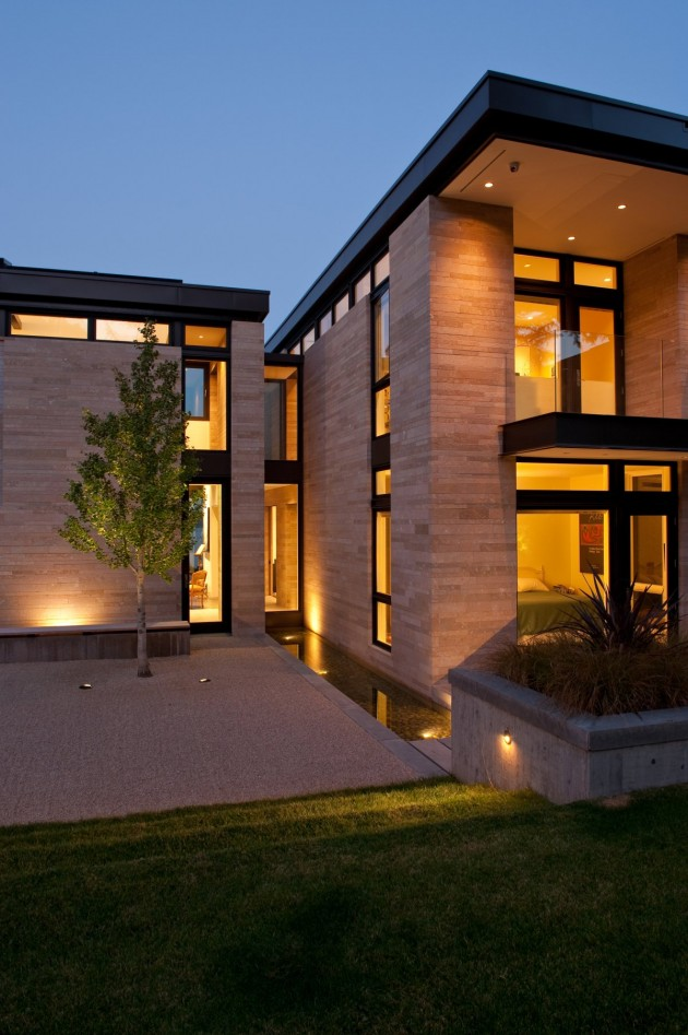 This house has lighting to light up the exterior at night.
