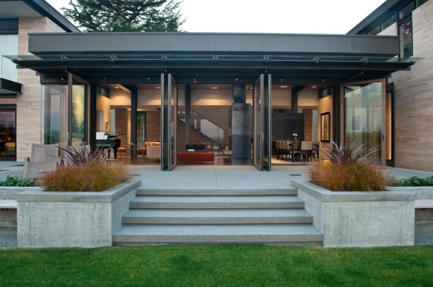 Large glass doors open to the backyard patio.