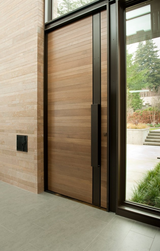 This wood and steel front door welcomes you to this Seattle home.