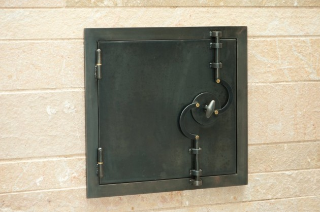 Steel and stone design feature.