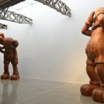 Giant wood statues appear in New York