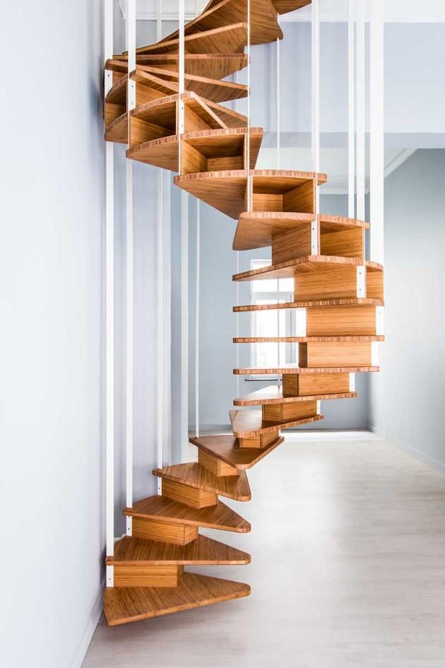 پله های مارپیچی از جنس چوب