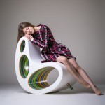 Alex Petunin designs an organically shaped chair filled with colorful stripes