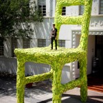 Artist Mark Reigelman creates a massive chair outside a building in Mexico