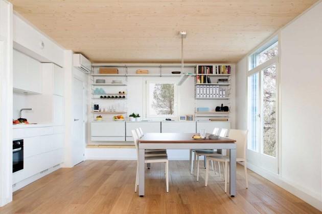 casa prefabricada, modular, eficiencia energética, domótica, comedor, cocina, dekoloop