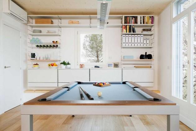 casa prefabricada, modular, eficiencia energética, domótica, salón, billar, dekoloop