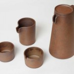 This drinkware collection looks like rusted steel, but it's actually pottery