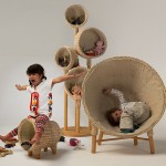 A Collection Of Furniture For Children Made From Wicker, Wool And Wood