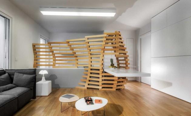 captivating jl deniot paris living room apartm | Paul Coudamy designs the Woodwave screen for an apartment ...