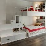 A Custom Designed Bunk Bed With Built In Stairs And Storage
