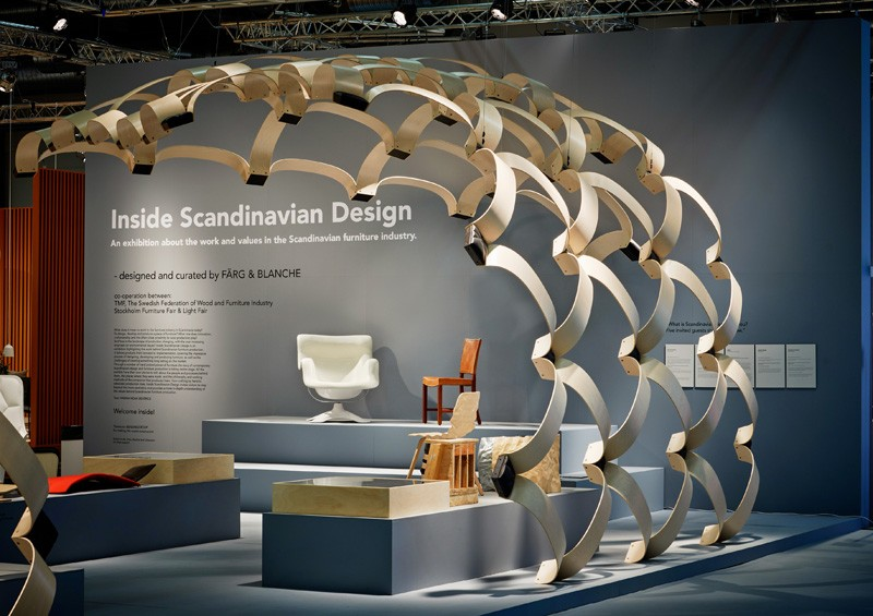 F rg blanche create a large wood structure to promote for Scandinavian design philosophy