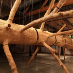 A Tree Sculpture Made Of Thousands Of Wood Pieces