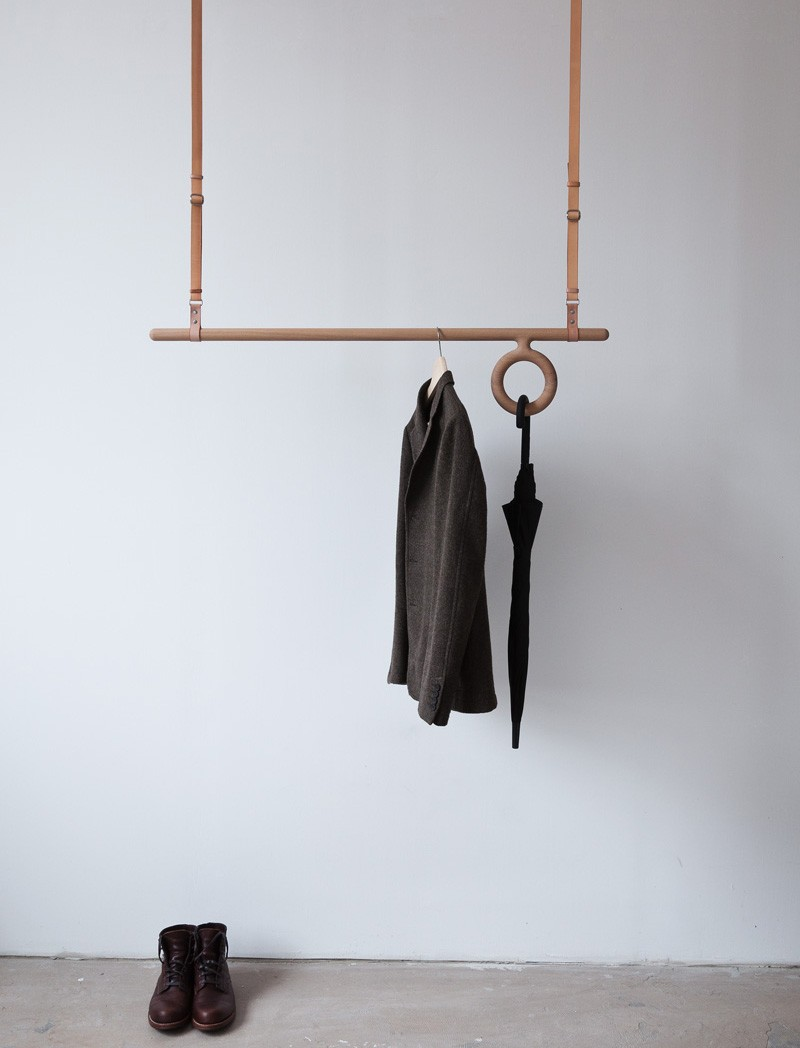 Florian Saul Designs A Wood And Leather Hanging Coat Rack