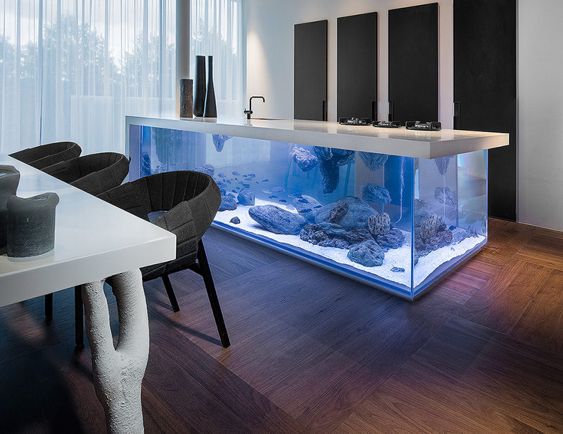 A kitchen island with an aquarium inside it