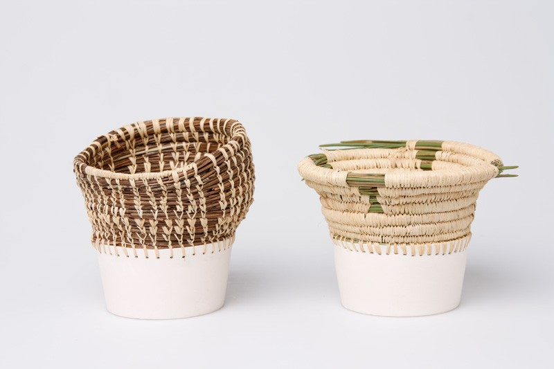 Basket Weaving Ri : These vases and containers combine basket weaving