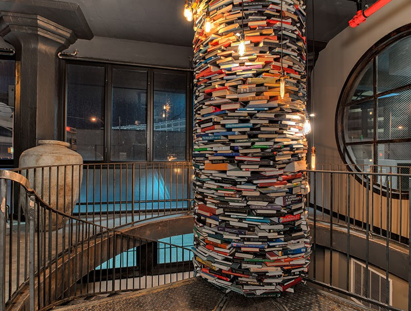 A column wrapped in books