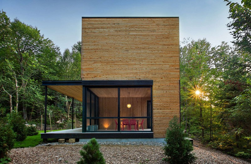 this wood clad house is at home in the trees contemporist. Black Bedroom Furniture Sets. Home Design Ideas