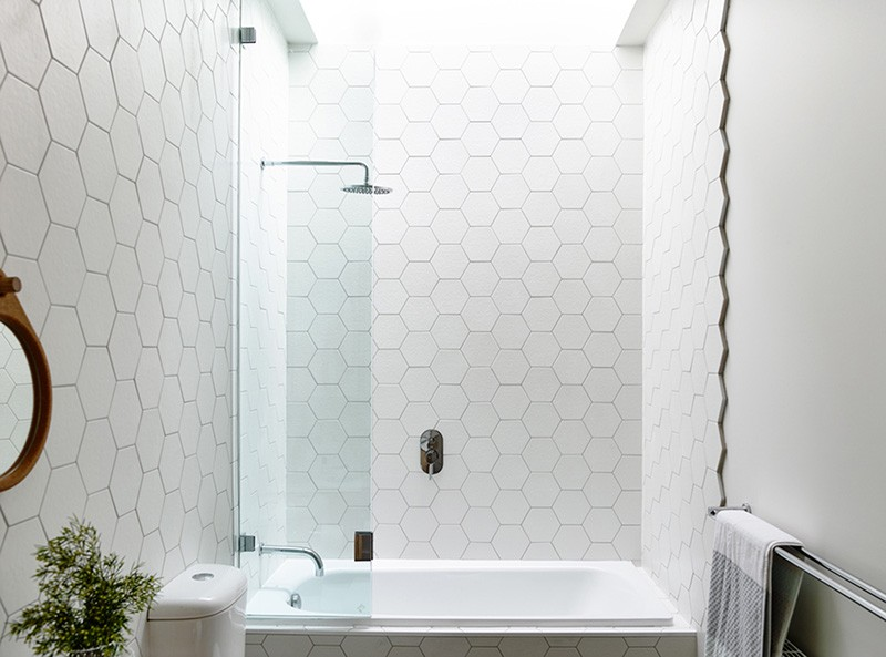Design Detail Hexagonal Tiles On A Bathroom Wall Contemporist