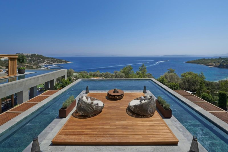 This rooftop sun-deck and pool designed by Scape Design Associates, can be found at the Mandarin Oriental Hotel in Bodrum, Turkey.