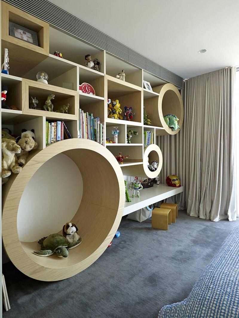 Custom kids room shelves