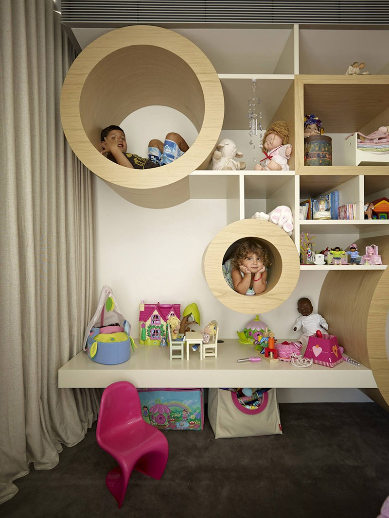 Design detail creative kids room shelving contemporist for Wall shelves kids room
