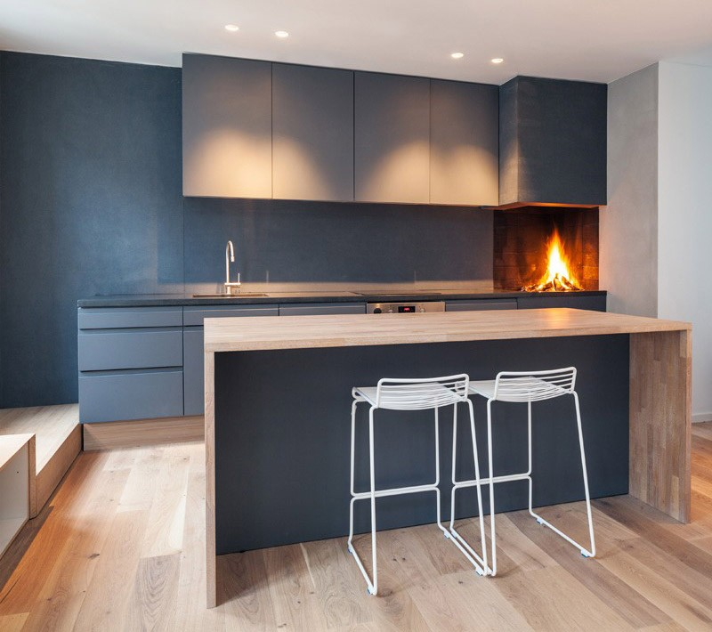 Open Wood-Burning Fireplace In A Kitchen