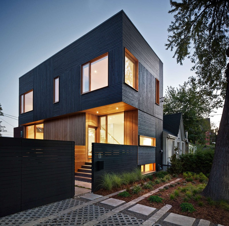 Black Siding With Natural Wood Accents For This Toronto
