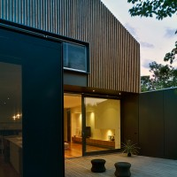 A contemporary addition to the rear of a house