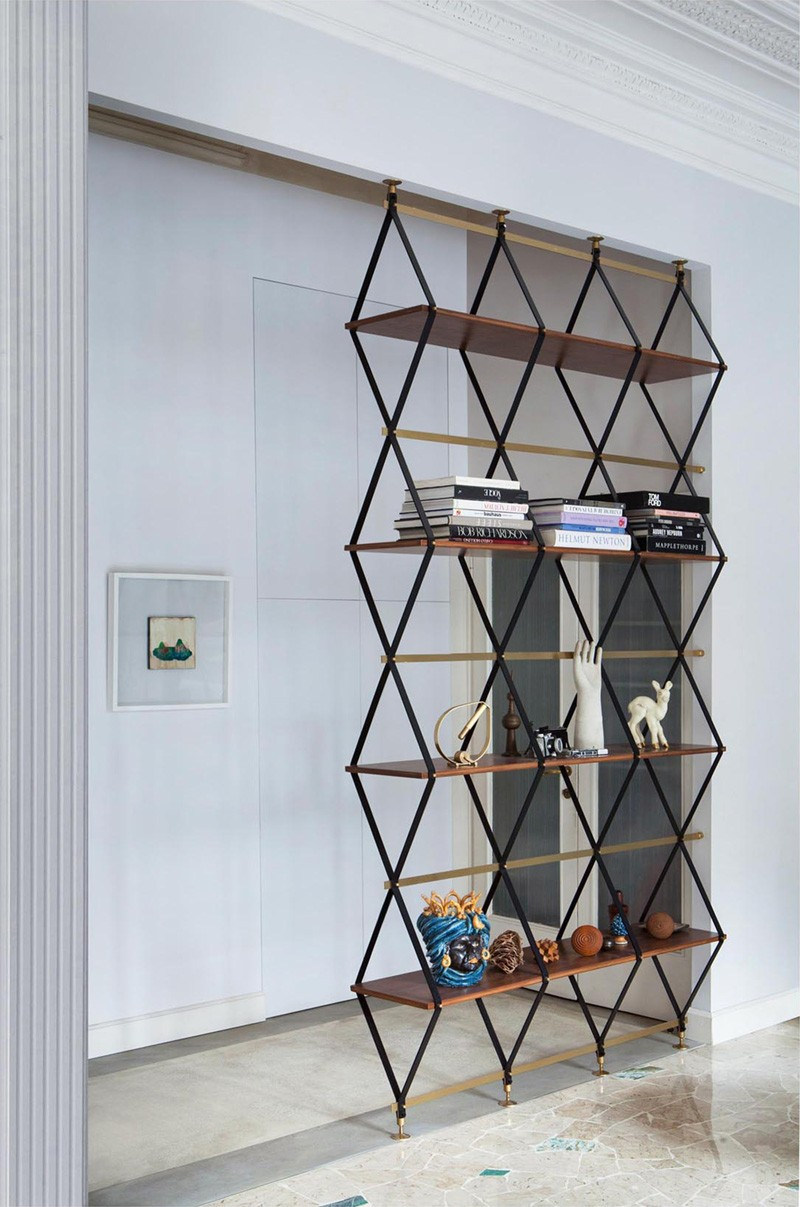 Pietro Russo Designs A Floor To Ceiling Shelf Space Divider