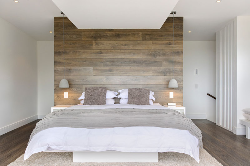 A bedroom palette of Whites Grays And Reclaimed Wood