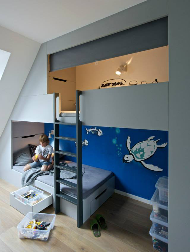 Boys bedroom with loft bed
