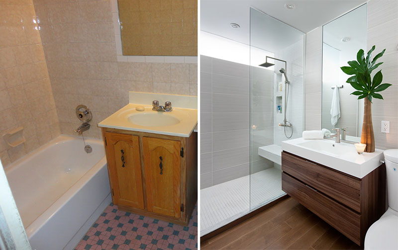 Before after a small bathroom renovation by paul k for Small bathroom reno