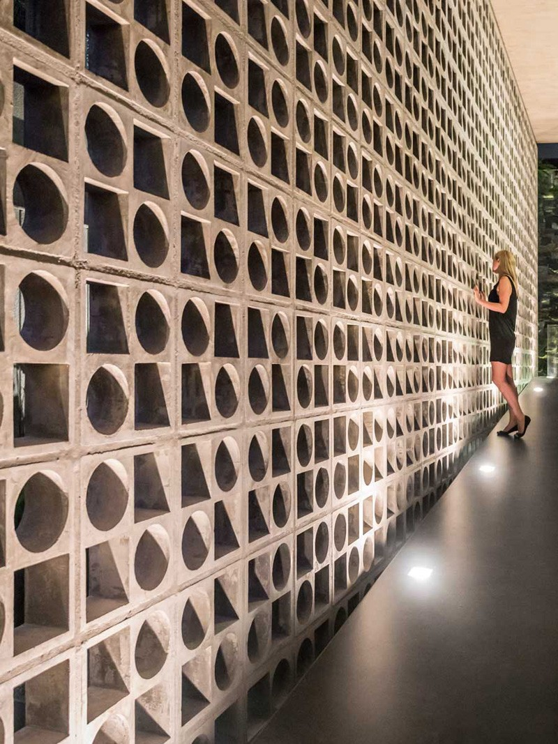 Design Detail A Wall Of Concrete Blocks With Geometric Shapes