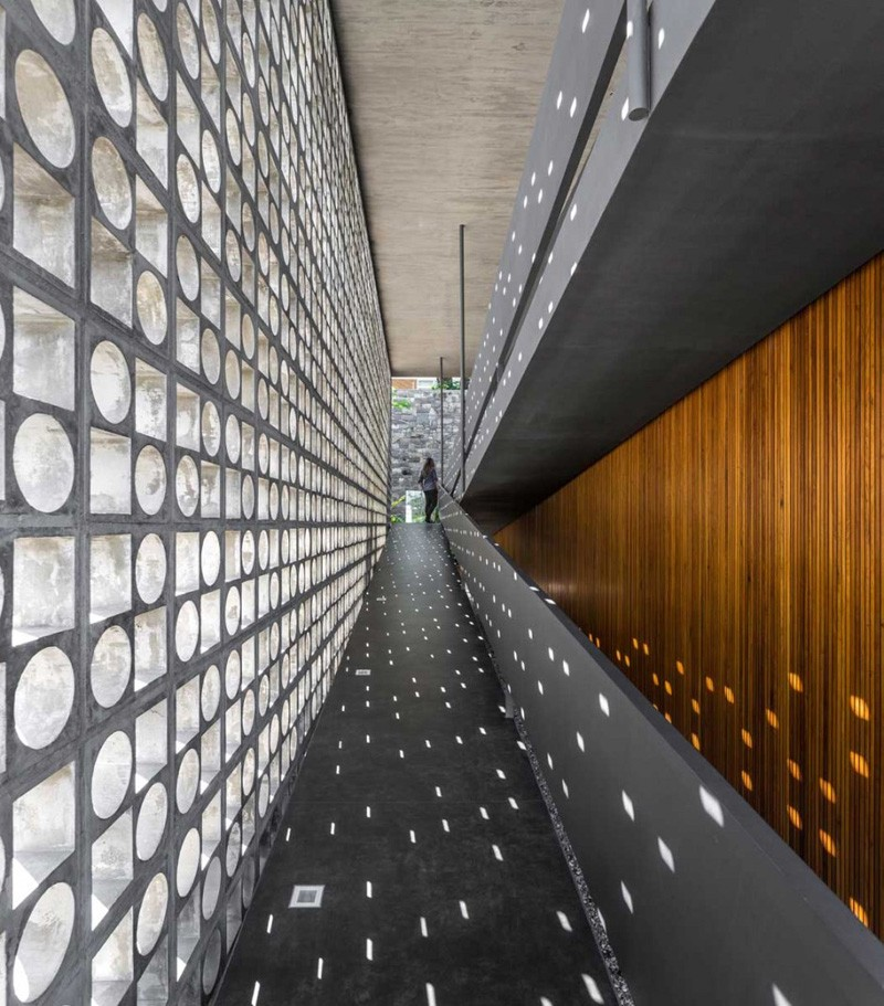 Design Detail - A Wall Of Concrete Blocks With Geometric Shapes