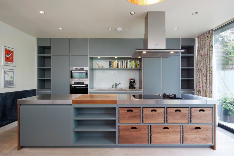 Kitchen island with removable wood boxes
