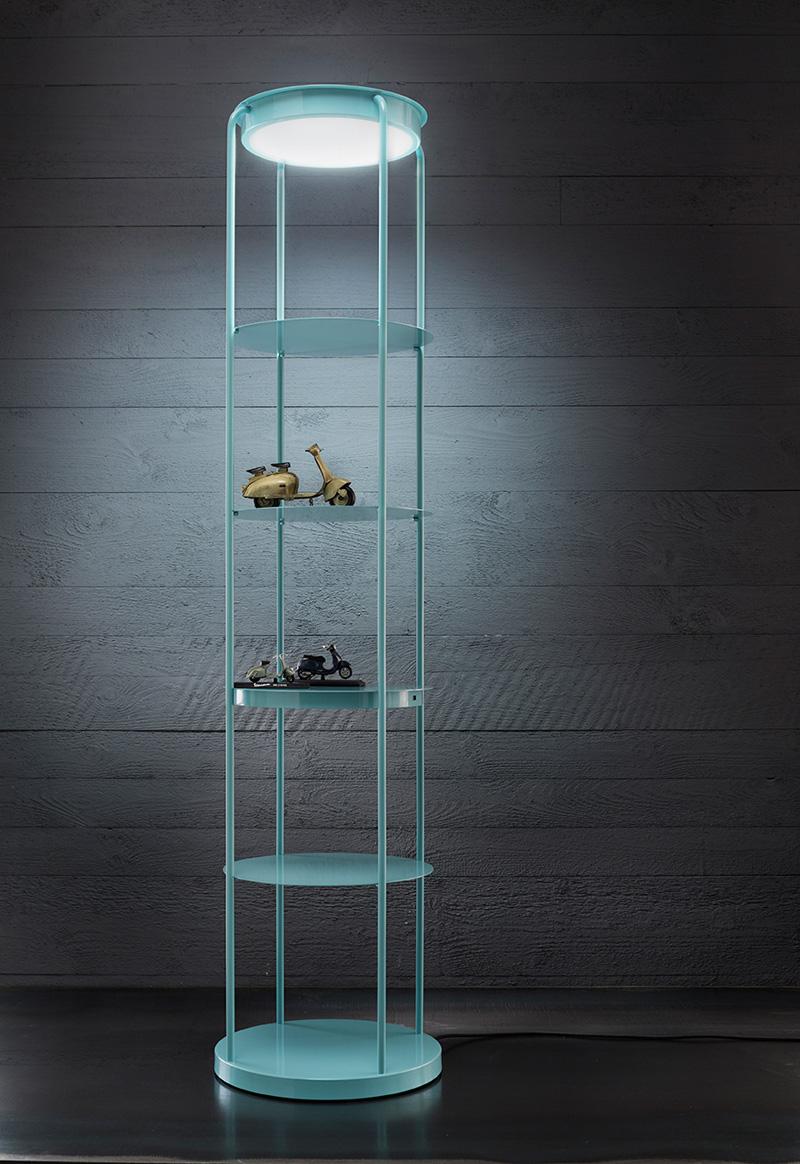 filippo mambretti creates a lamp shelf combo with built in. Black Bedroom Furniture Sets. Home Design Ideas