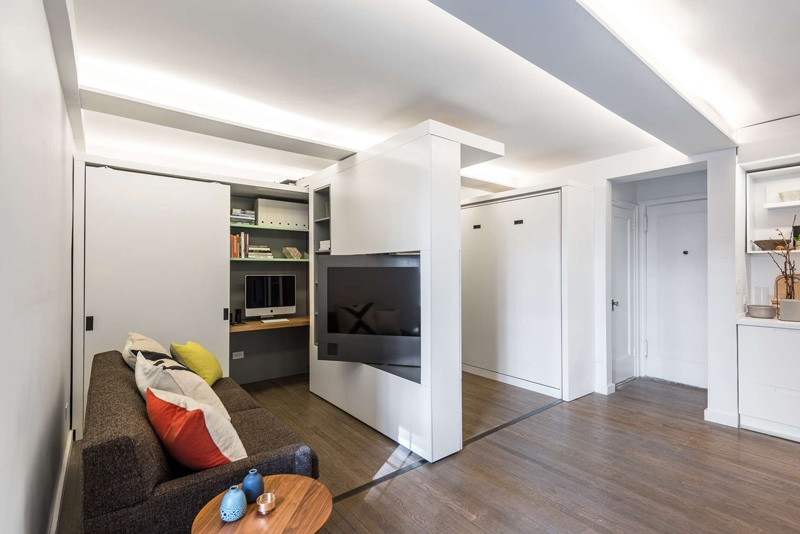 Afscheidingswand Slaapkamer : New York Tiny Apartment Sliding Walls